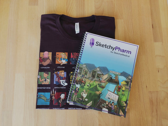 SketchyPharm T-shirt & Workbook Bundle