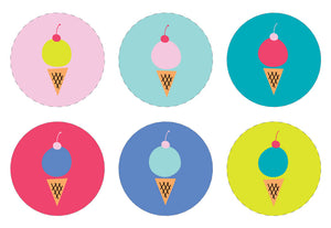 ICE CREAM Printable Cupcake Topper, Digital Download, Solid, Multi-Colour
