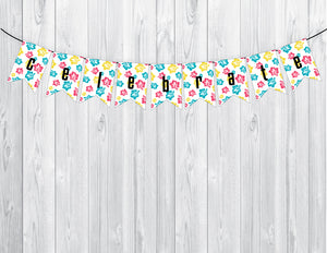 ALOHA Printable Notched Banner, Digital Download, Flowers