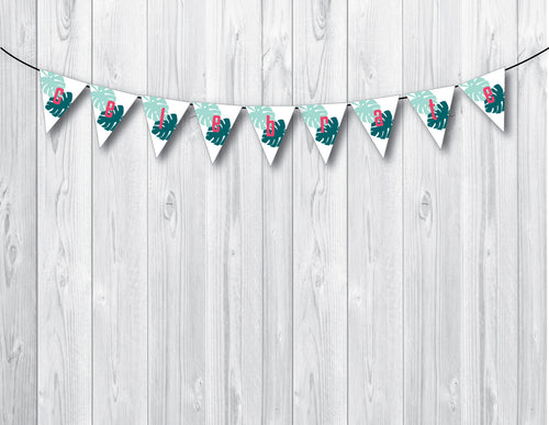 ALOHA Printable Triangle Banner, Digital Download, Palm