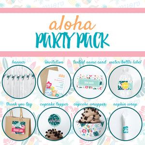 ALOHA Theme Printable Party Pack, Party Decorations Kit