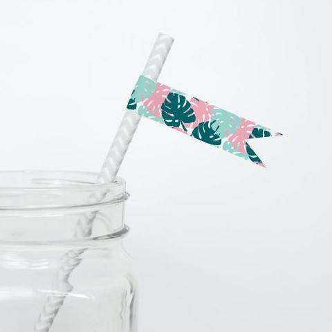 ALOHA Printable Straw Flags, Digital Download, Palm