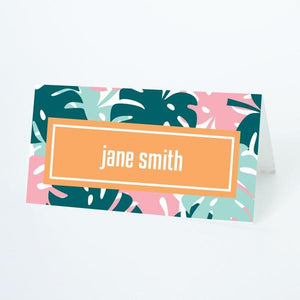 ALOHA Printable Tented Name Card, Digital Download, Editable, Palms