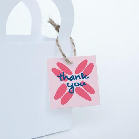 "BOHO Printable 1.5"" Square Thank You Tag, Digital Download, Pink"