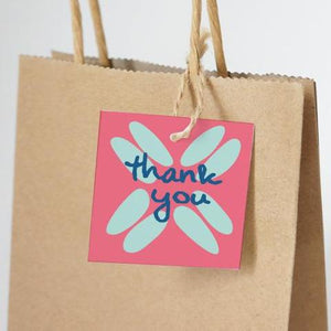 "BOHO Printable 2"" Square Thank You Tag, Digital Download, Coral"