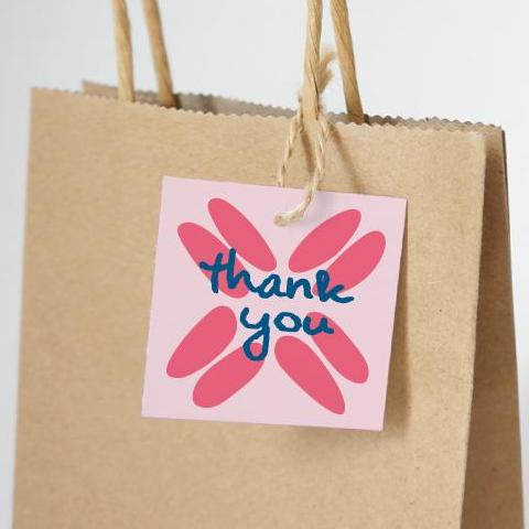 "BOHO Printable 2"" Square Thank You Tag, Digital Download, Pink"