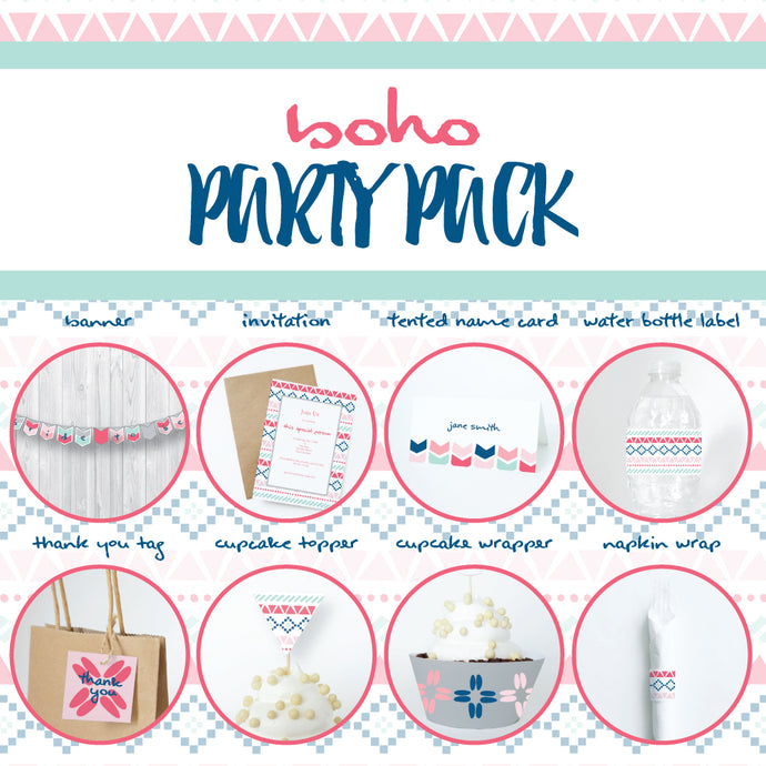 BOHO Theme Printable Party Pack, Party Decorations Kit