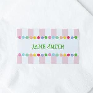 CANDY Printable Flat Name or Food Card, Digital Download, Editable, Stripes