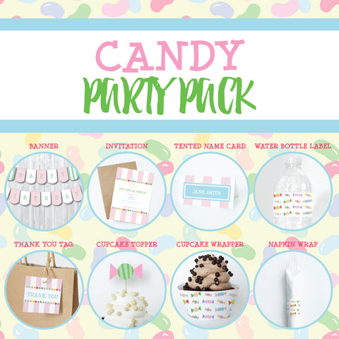 CANDY Theme Printable Party Pack, Party Decorations Kit