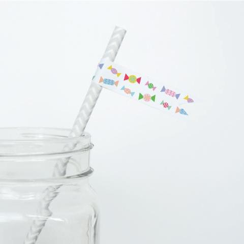 CANDY Printable Straw Flags, Digital Download, Candy
