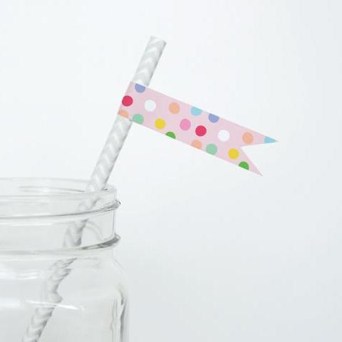 CANDY Printable Straw Flags, Digital Download, Dots