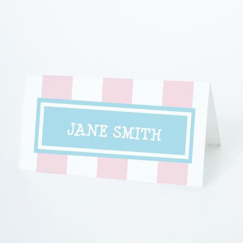 CANDY Printable Tented Name Card, Digital Download, Editable, Stripes