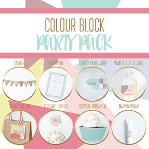 COLOUR BLOCK Theme Printable Party Pack, Party Decorations Kit