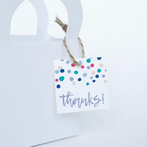 "CONFETTI Printable 1.5"" Square Thank You Tag, Digital Download, Circle"