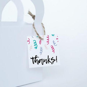 "CONFETTI Printable 1.5"" Square Thank You Tag, Digital Download, String"
