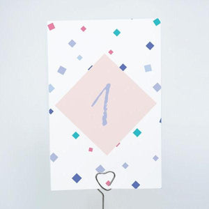 CONFETTI Printable 4x6 Table Numbers, 1 to 15 Tables, Digital Download, Diamond