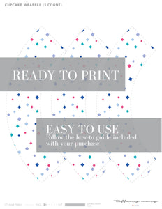 CONFETTI Printable Cupcake Wrapper, Digital Download, Diamond