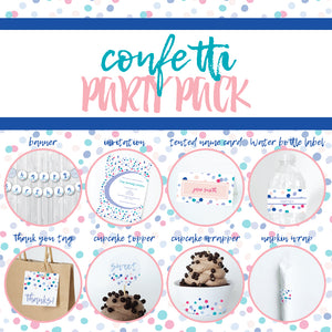 CONFETTI Theme Printable Party Pack, Party Decorations Kit