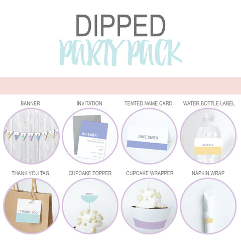 DIPPED Theme Printable Party Pack, Party Decorations Kit