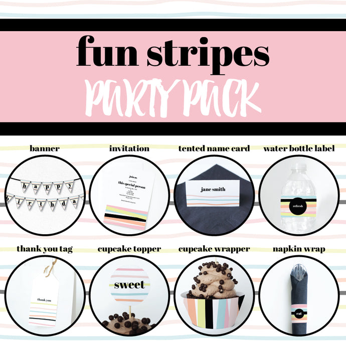 FUN STRIPES Theme Printable Party Pack, Party Decorations Kit