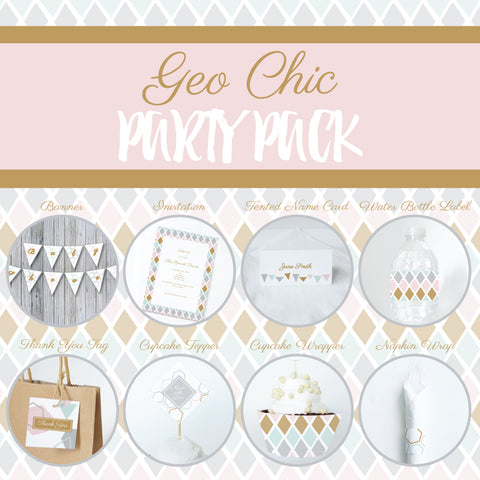 GEO CHIC Theme Printable Party Pack, Party Decorations Kit