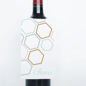 GEO CHIC Printable Wine Tags, Digital Download, Hex