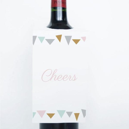 GEO CHIC Printable Wine Tags, Digital Download, Triangle