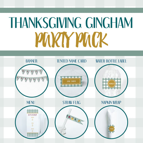 THANKSGIVING GINGHAM Theme Printable Party Pack, Party Decorations Kit