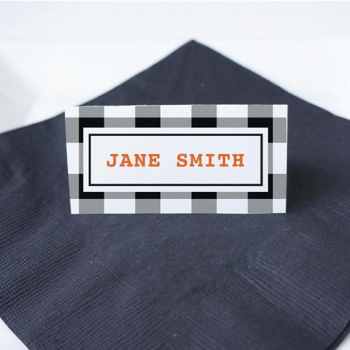 HALLOWEEN Printable Tented Name Card, Digital Download, Editable, Gingham