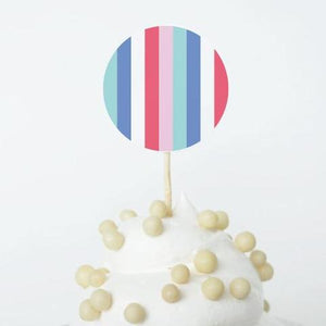 Free Printable Party Decorations, Instant Download, Ice Cream Theme Stripes Cupcake Topper
