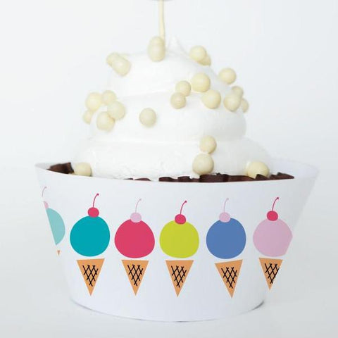 ICE CREAM Printable Cupcake Wrapper, Digital Download
