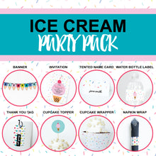 ICE CREAM Theme Printable Party Pack, Party Decorations Kit