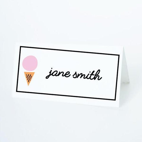 ICE CREAM Printable Tented Name Card, Digital Download, Editable, Ice Cream