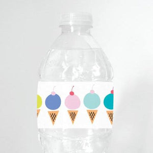 ICE CREAM Printable Water Bottle Label, Digital Download, Ice Cream