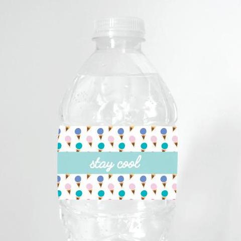 Free Printable Party Decorations, Instant Download, Ice Cream Water Bottle Label