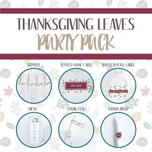 THANKSGIVING LEAVES Theme Printable Party Pack, Party Decorations Kit