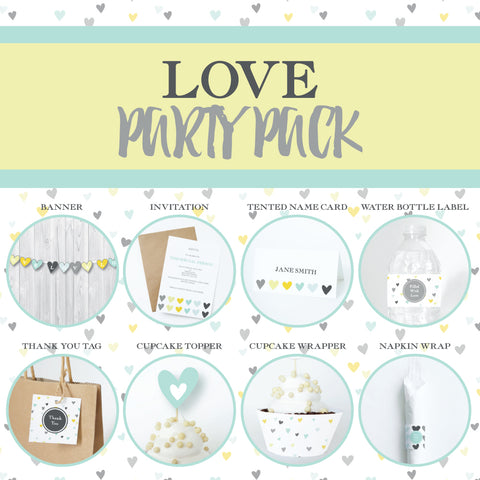 LOVE Theme Printable Party Pack, Party Decorations Kit