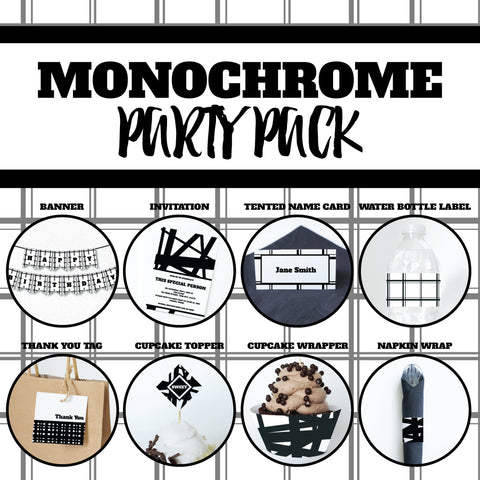 MONOCHROME Theme Printable Party Pack, Party Decorations Kit