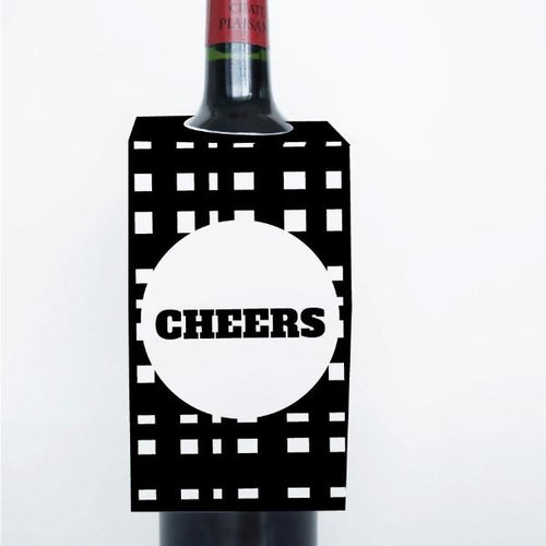 MONOCHROME Printable Wine Tags, Digital Download, Check