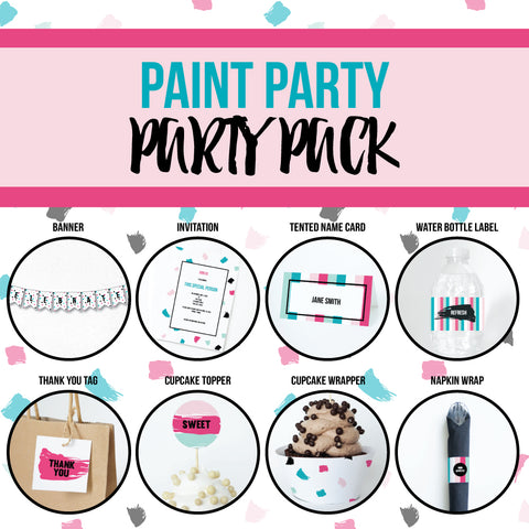 PAINT PARTY Theme Printable Party Pack, Party Decorations Kit