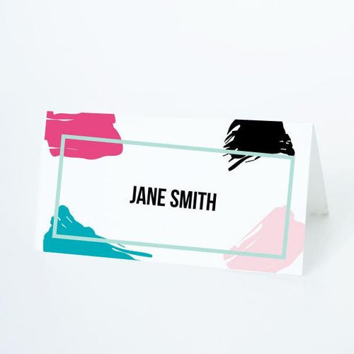 PAINT PARTY Printable Tented Name Card, Digital Download, Editable, Paint