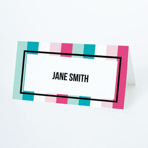 PAINT PARTY Printable Tented Name Card, Digital Download, Editable, Stripes