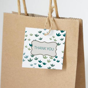 "RUSTIC GARDEN Printable 2"" Square Thank You Tag, Digital Download, Small Leaves"
