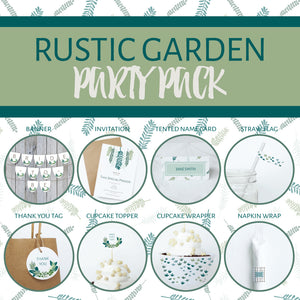 RUSTIC GARDEN Theme Printable Party Pack, Party Decorations Kit