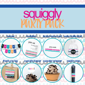 SQUIGGLY Theme Printable Party Pack, Party Decorations Kit
