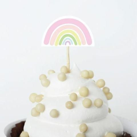 SUNSHINE AND RAINBOWS Printable Cupcake Topper, Digital Download, Rainbow