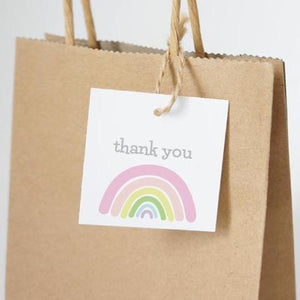 "SUNSHINE AND RAINBOWS Printable 2"" Square Thank You Tag, Digital Download, Rainbow"