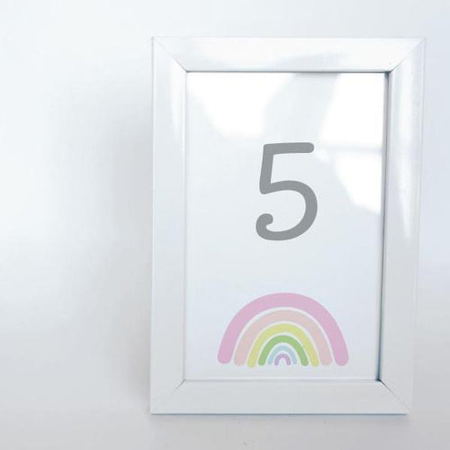 SUNSHINE AND RAINBOWS Printable 4x6 Table Numbers, 1 to 15 Tables, Digital Download, Rainbow