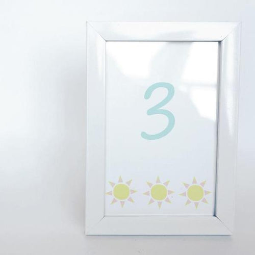 SUNSHINE AND RAINBOWS Printable 4x6 Table Numbers, 1 to 15 Tables, Digital Download, Sunshine