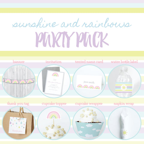 SUNSHINE AND RAINBOWS Theme Printable Party Pack, Party Decorations Kit